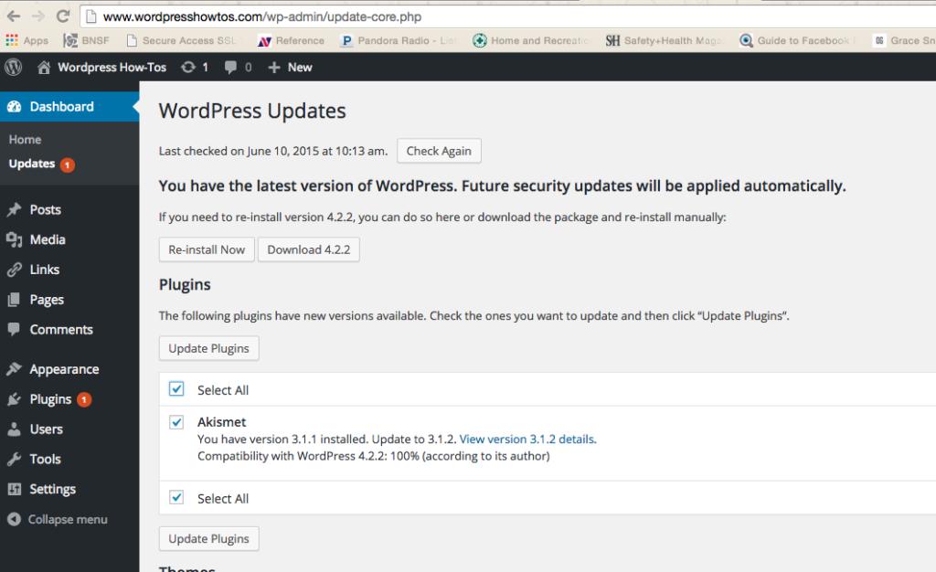 Update WordPress dashboard